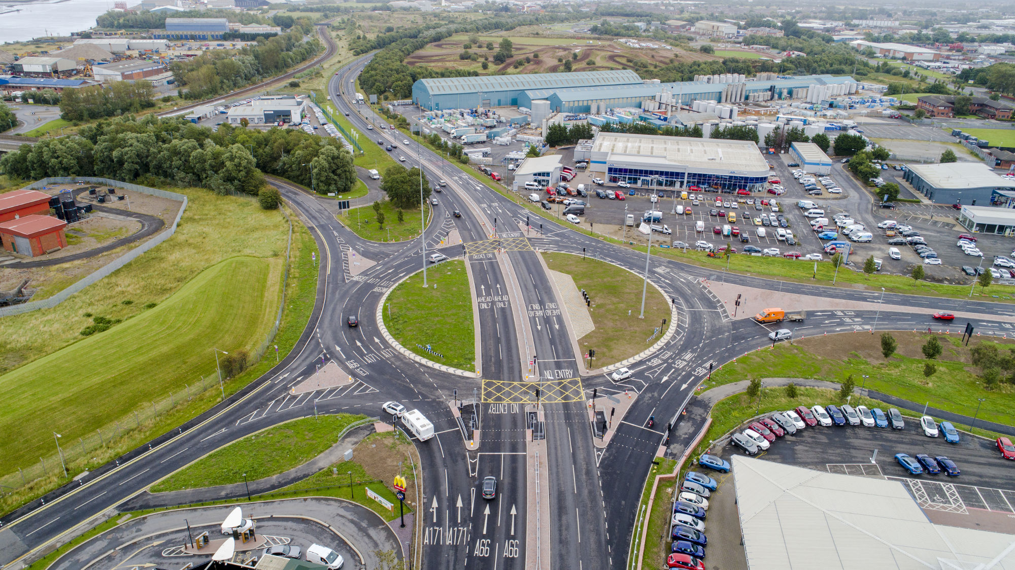 An aerial photo of the new throughabout and surrounding roads at Cargo Fleet Junction