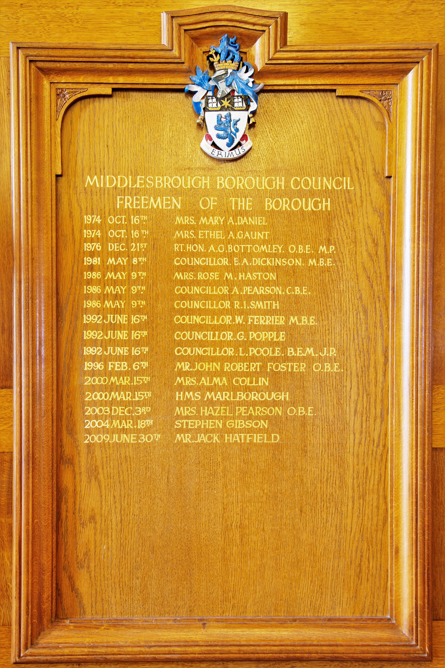 A photo of the Freedom of the Borough list