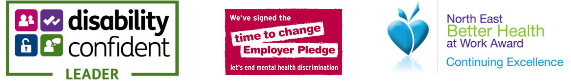 Disability Confident, Time To Change Employer Pledge and North East Better Health at Work award logos