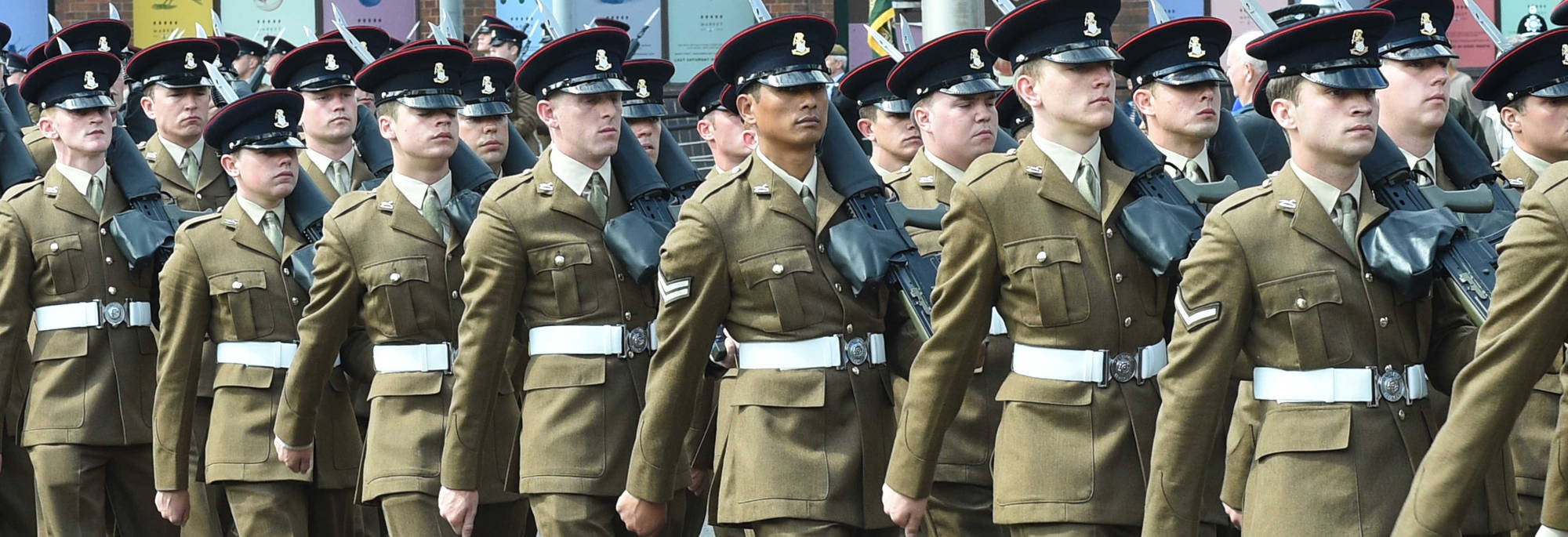 Members of the Yorkshire Regiment marching in Middlesbrough