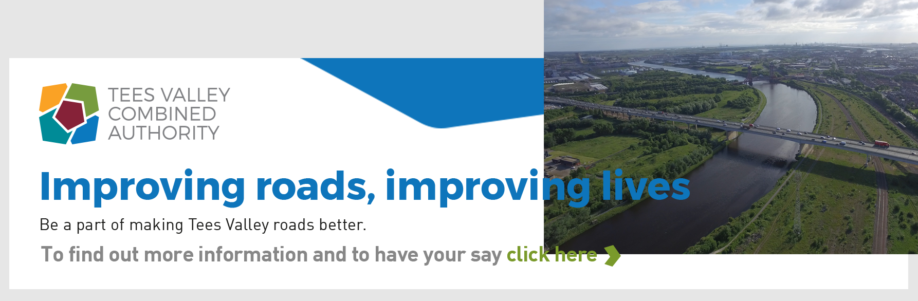 Banner image and link to the Tees Valley Road Improvements survey