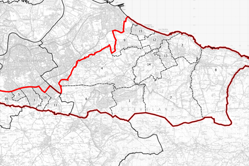 Map of Middlesbrough South and East Cleveland proposed boundary