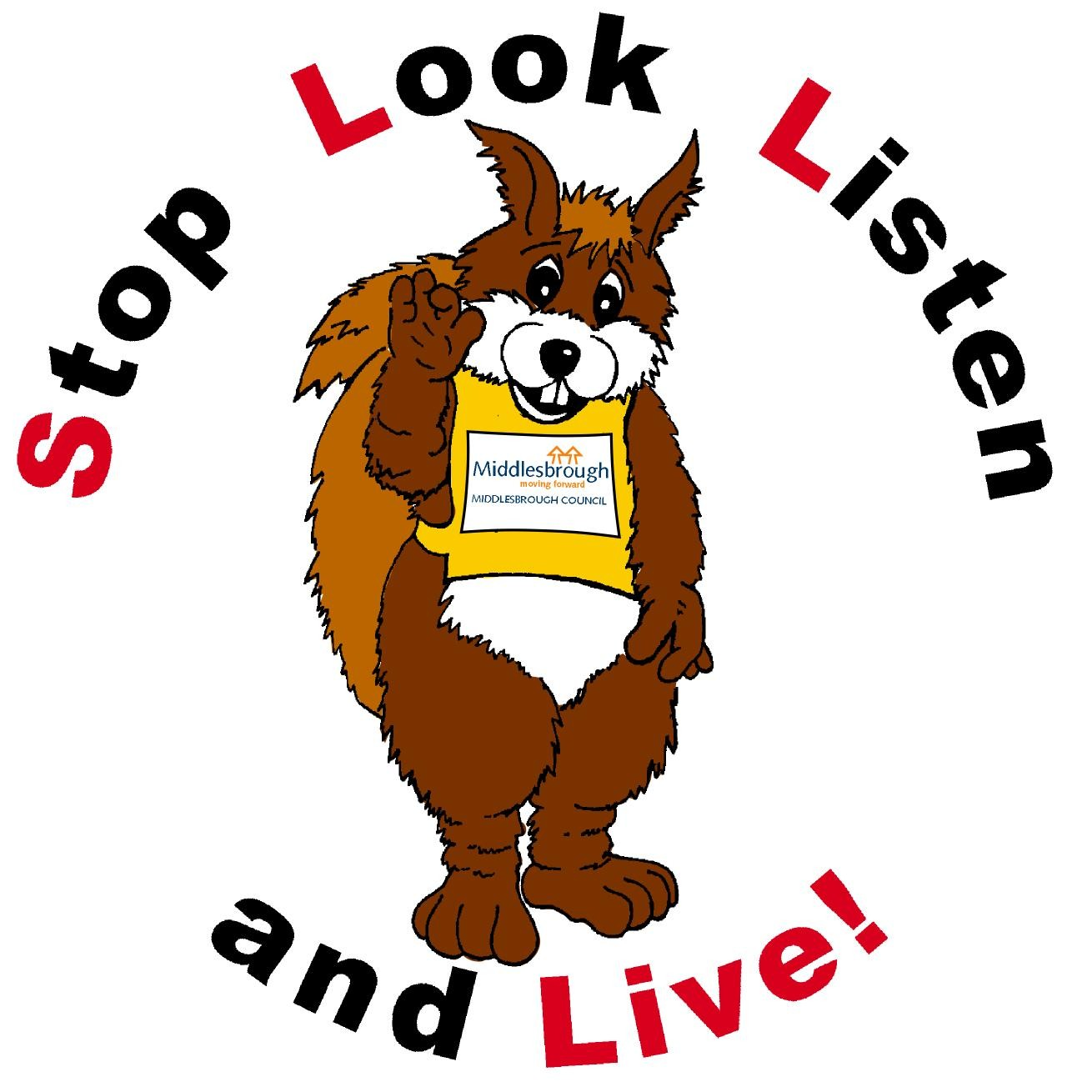 """Safety Squirrel - \""""Stop, look, listen and live!\"""""""