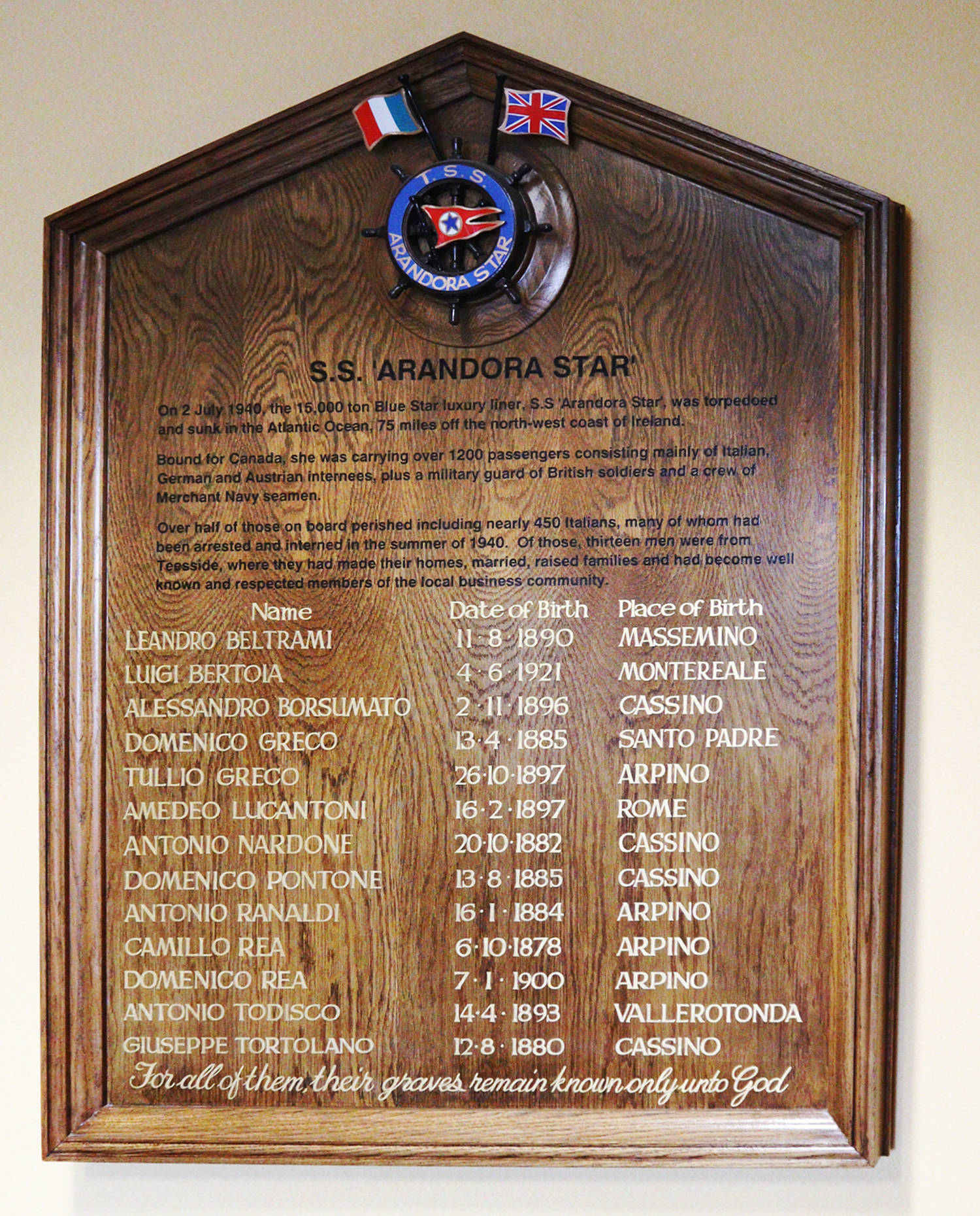 A photo of the SS Arandora Star plaque in Middlesbrough Town Hall