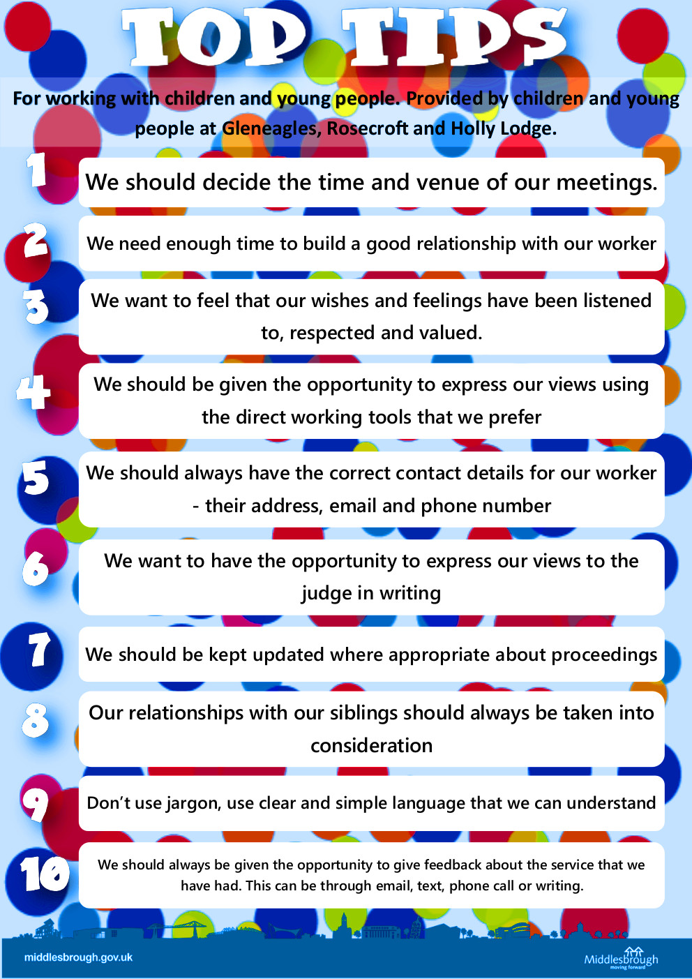 Preview of the poster 'top 10 tips for working with children and young people' (click to download)