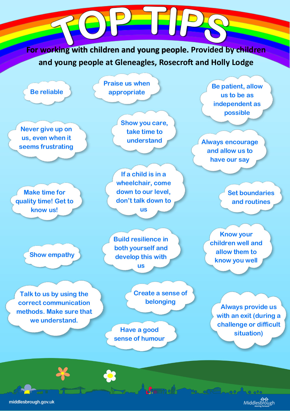 Preview of the poster 'more top tips for working with children and young people' (click to download)