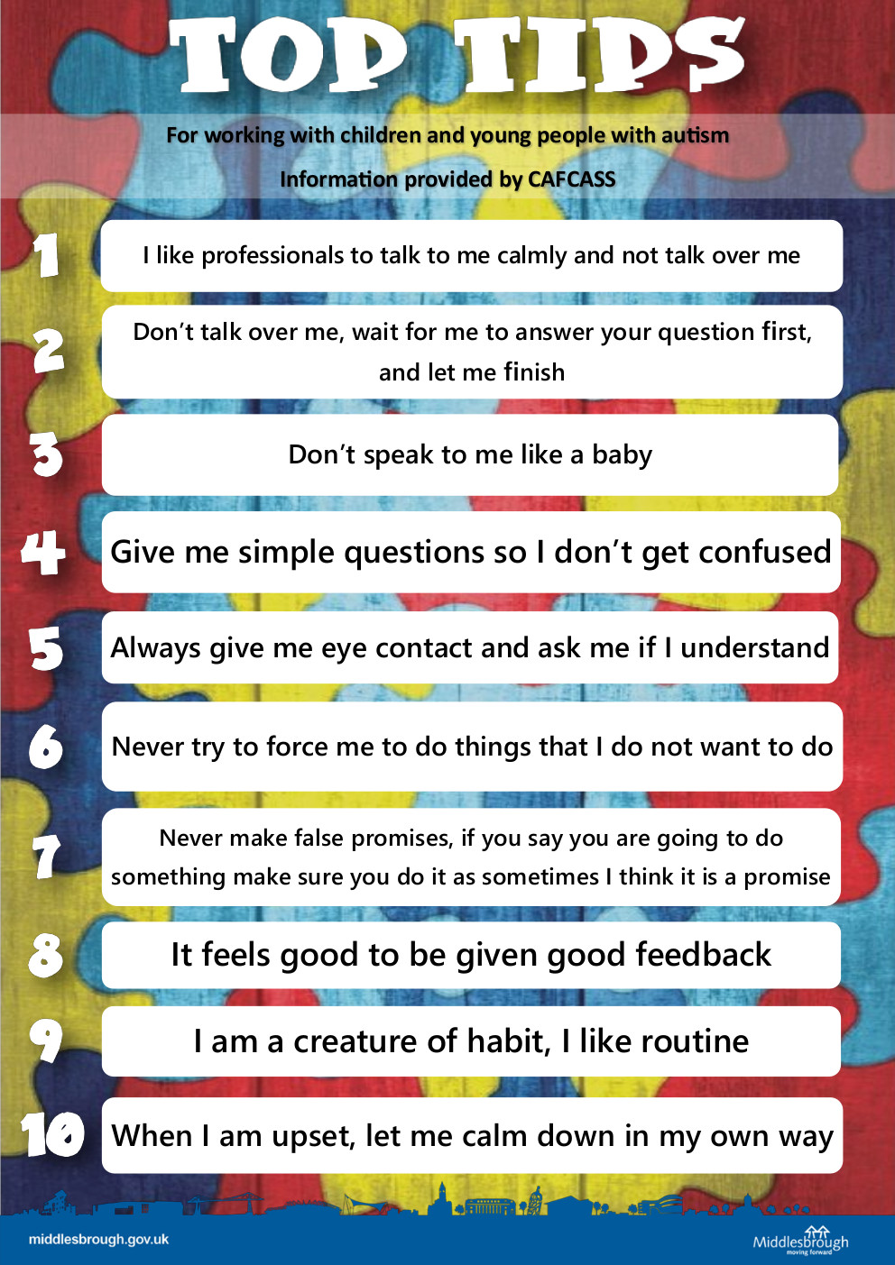 Preview of the poster 'tips for working with children and young people with autism' (click to download)
