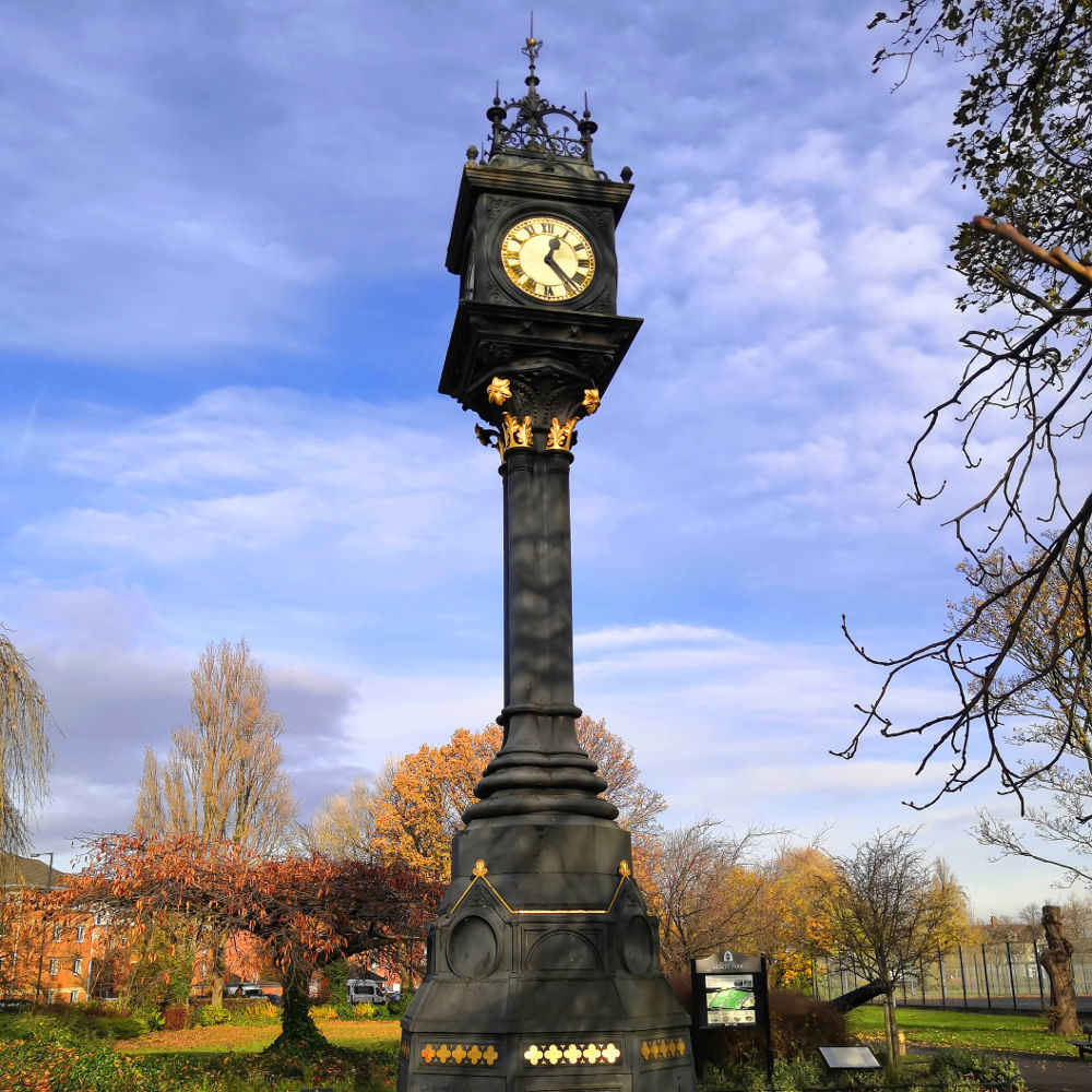 A photo of the historic clock in Albert Park in the sunshine