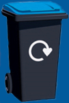 image of a blue lid wheelie bin