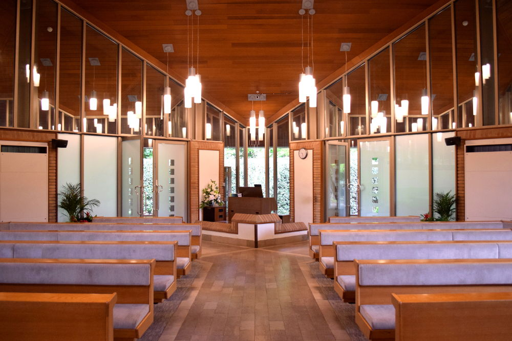 A photo of St. Bede's Chapel linking to a page about the two chapels at Teesside Crematorium