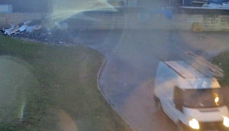 Picture shows CCTV image following the fly-tipping incident at Metz Bridge Caravan Site on Friday, January 29.