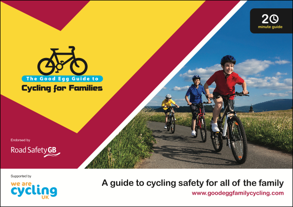 Picture of the cycling for families guide linking to the cycling for families guide