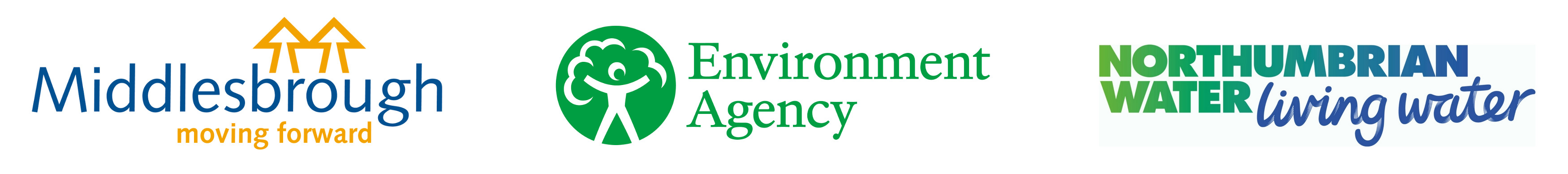 Logos for Middlesbrough Council, the Environment Agency, and Northumbrian Water