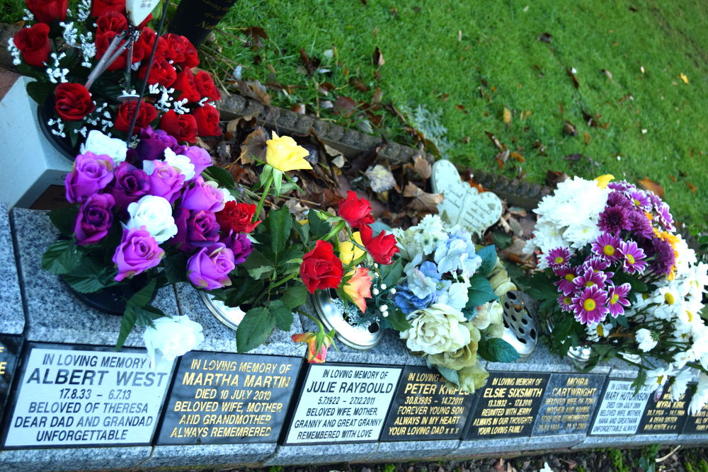 A photo of memorials at Teesside Crematorium linking to information about memorials
