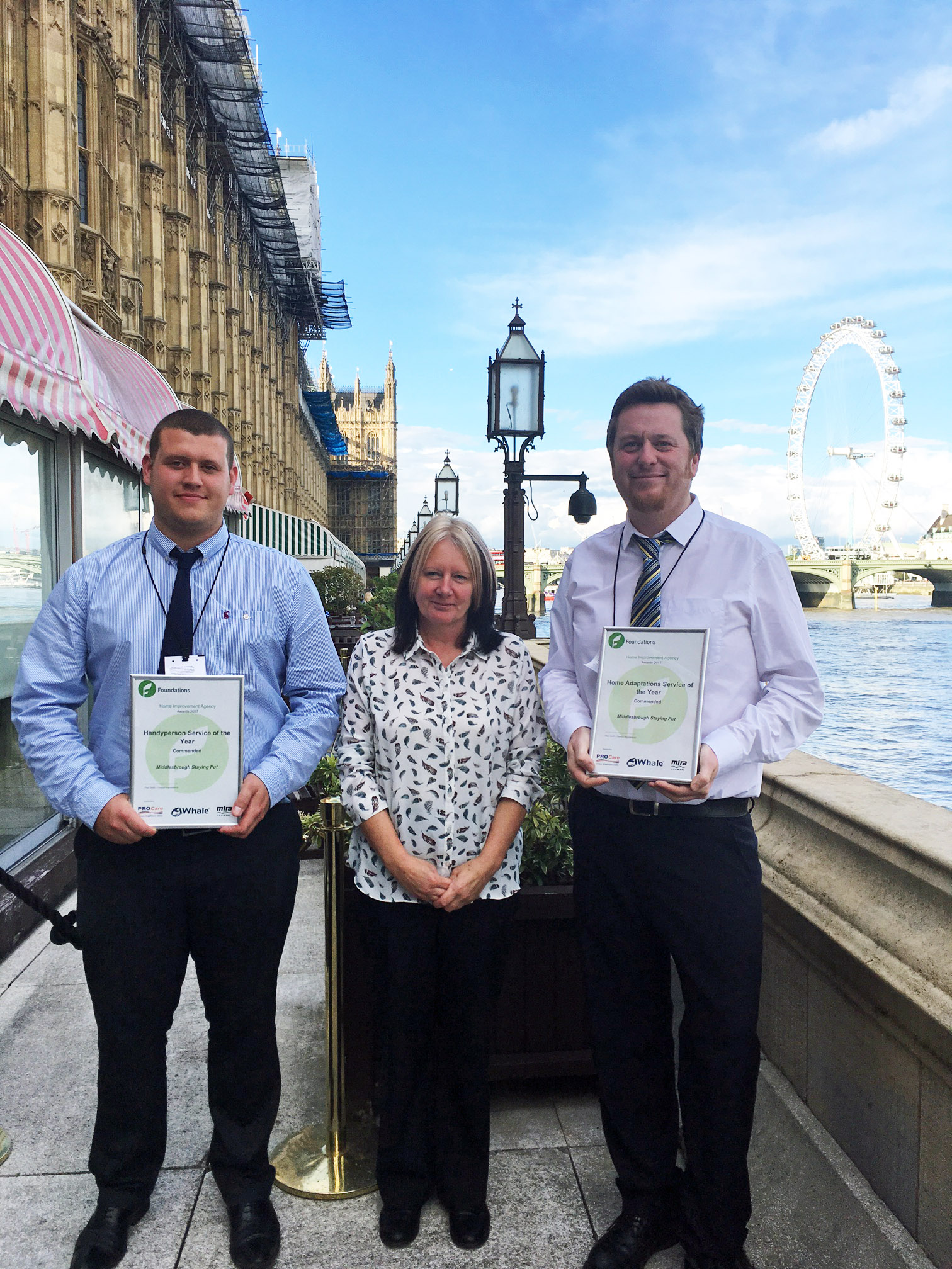 Middlesbrough Mobile Adapt and Mend Service (MMAMS) Handyperson Team Leader Andrew Horne, Admin Assistant Susan Jones and Caseworker Martin Robinson receive their awards at the House of Lords