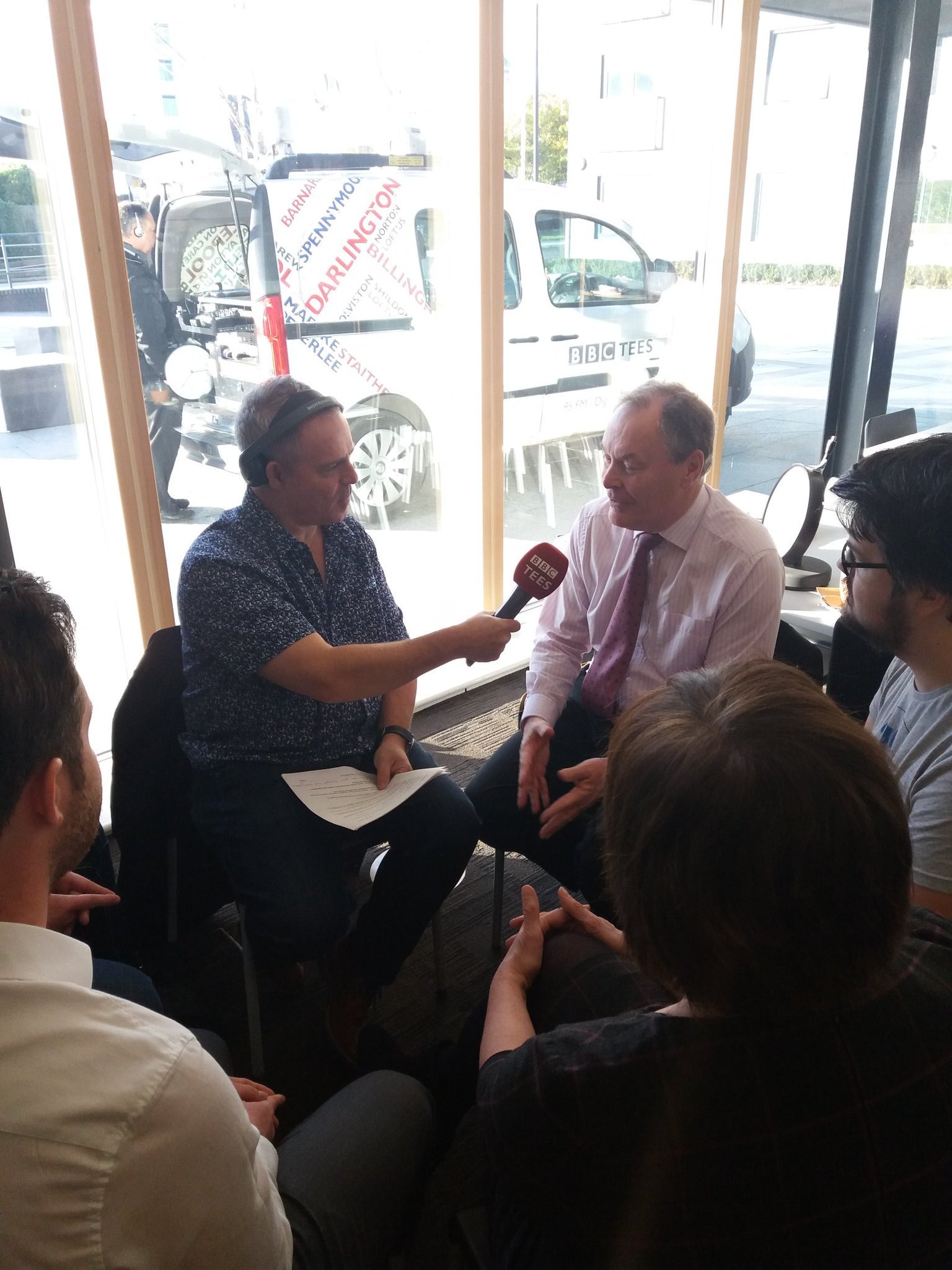 – Middlesbrough Mayor Dave Budd (R) being interviewed by BBC Tees' Mike Parr at Boho 1 alongside digital business leaders.