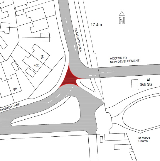 A map showing the location of the trial road closure, which is at the junction of Church Lane and St Mary's Walk in Acklam