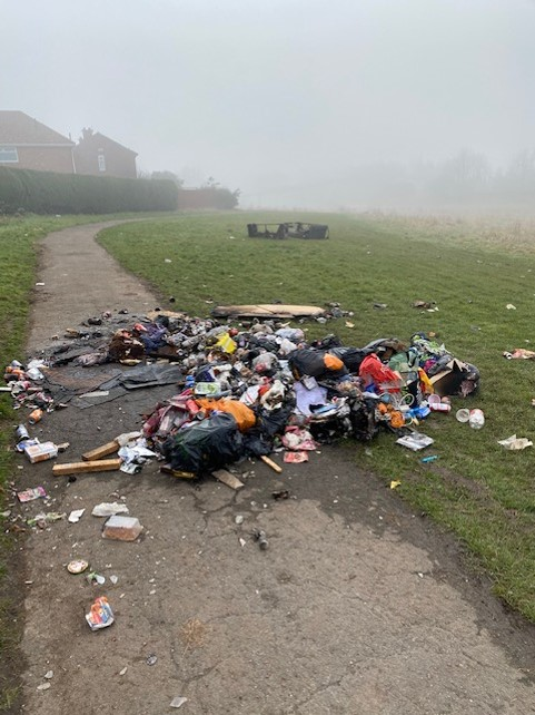 The fly-tipped rubbish in Berwick Hills