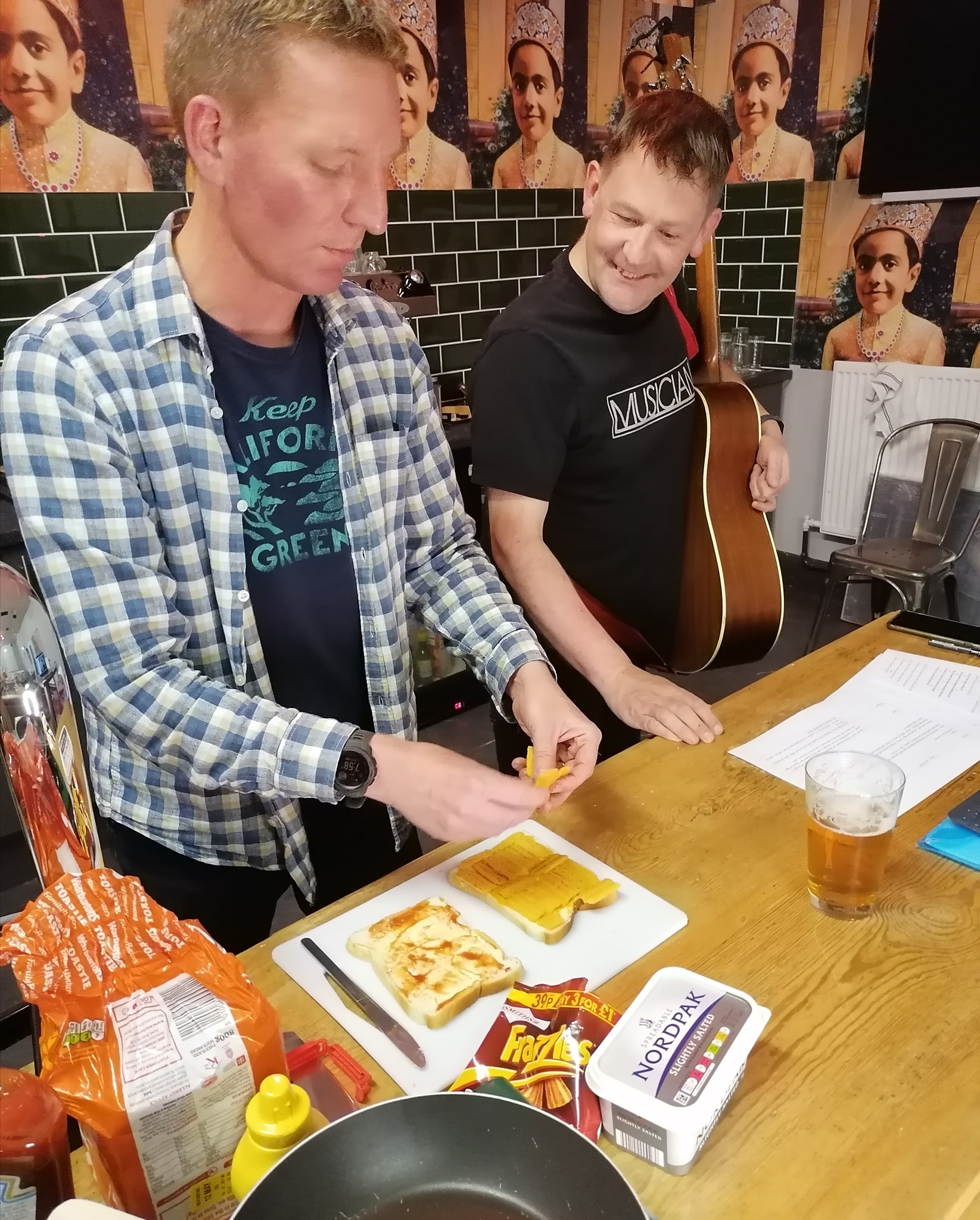 A photo of Mike McGrother and crisp sandwich supremo Ben Taylorson at a Ali Brownlee Social Club event