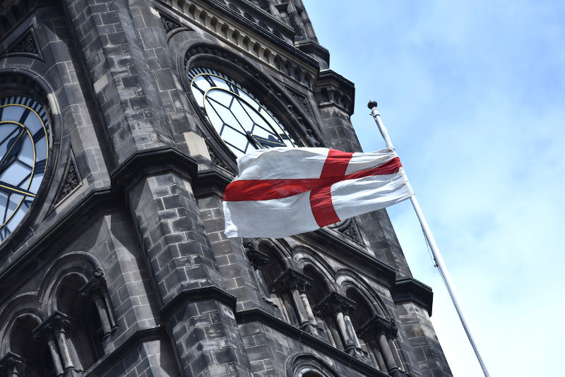 A photo of the St. George flag flying at Middlesbrough Town Hall
