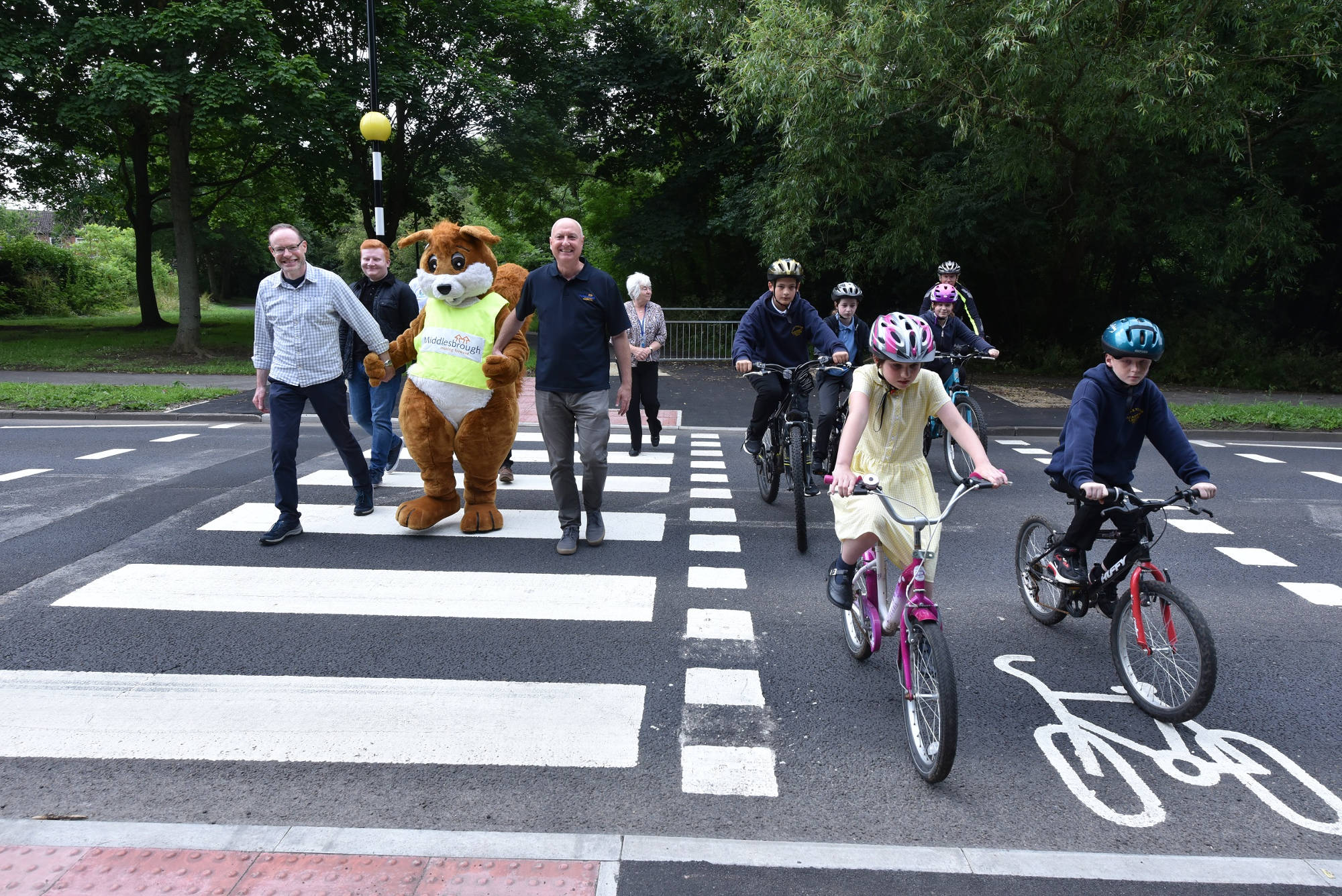 A photo of the opening of the tiger crossing in Coulby Newham