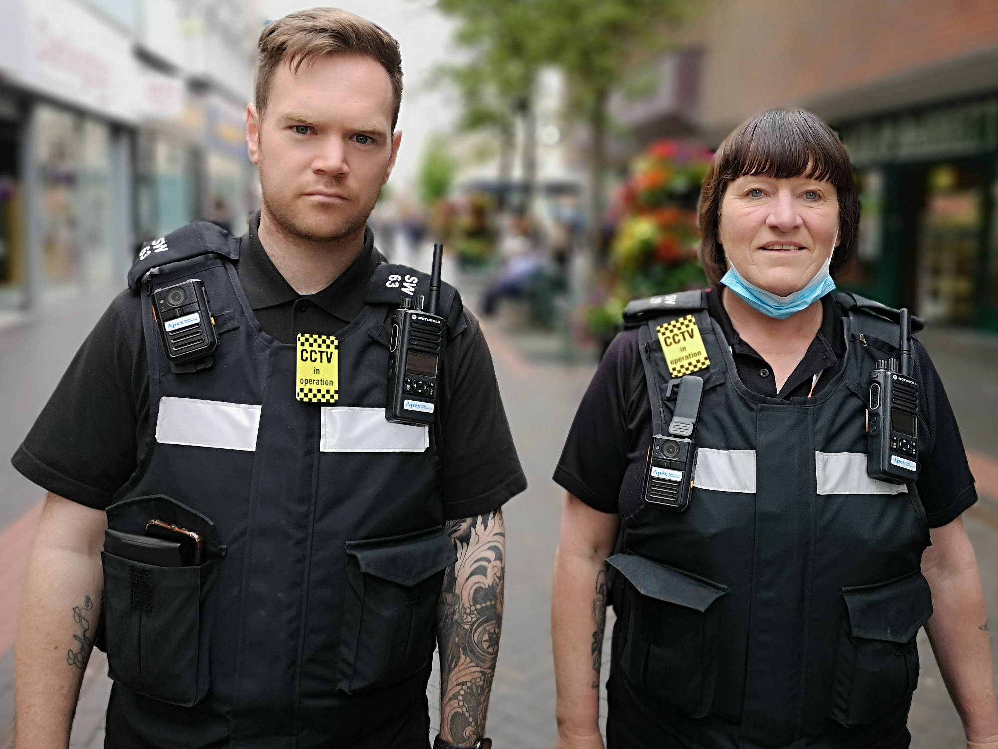 A photo of wardens Liz Tiffney and Aaron McInnes on patrol in Middlesbrough town centre