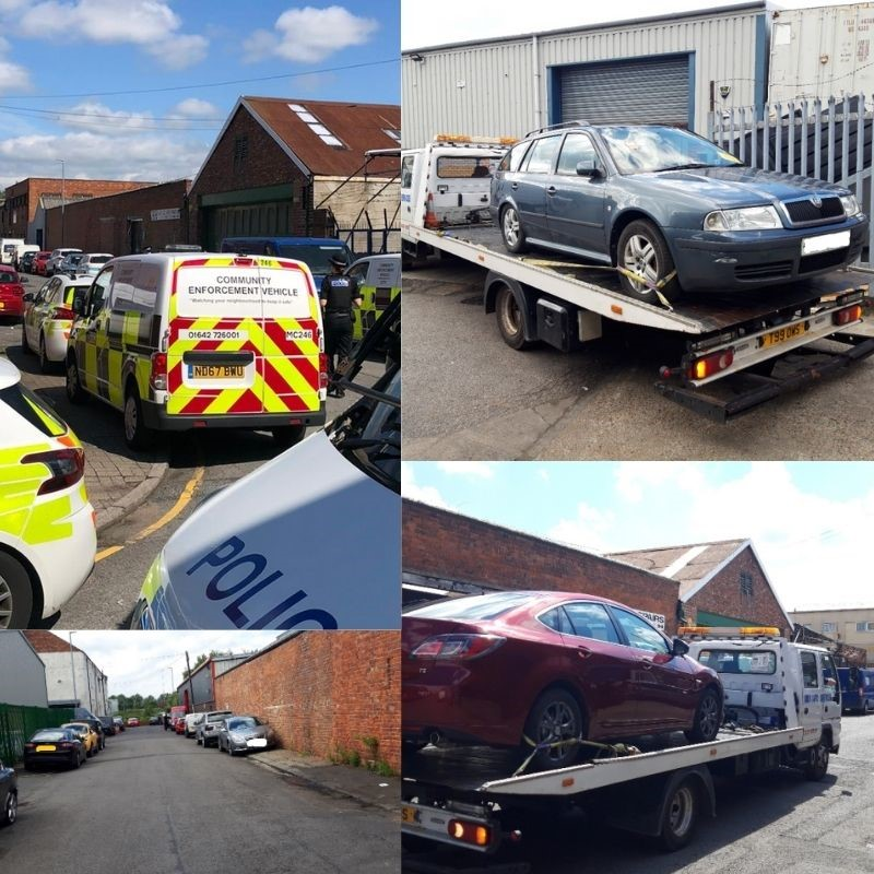 A photo of untaxed cars being removed