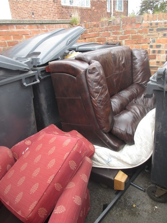 A photo of furniture fly-tipped at St Cuthbert's Court, Ormesby in June