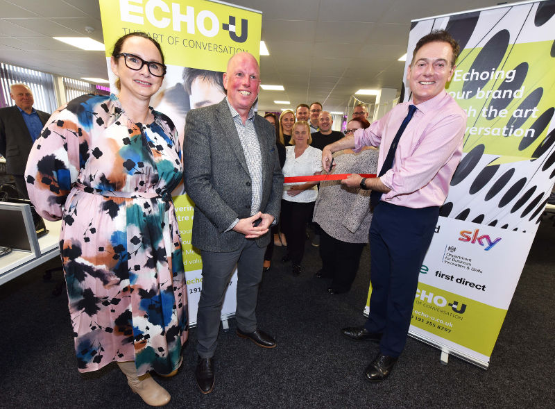 A photo of Middlesbrough Mayor Andy Preston with company co-directors Diana Bourke and David Blakey