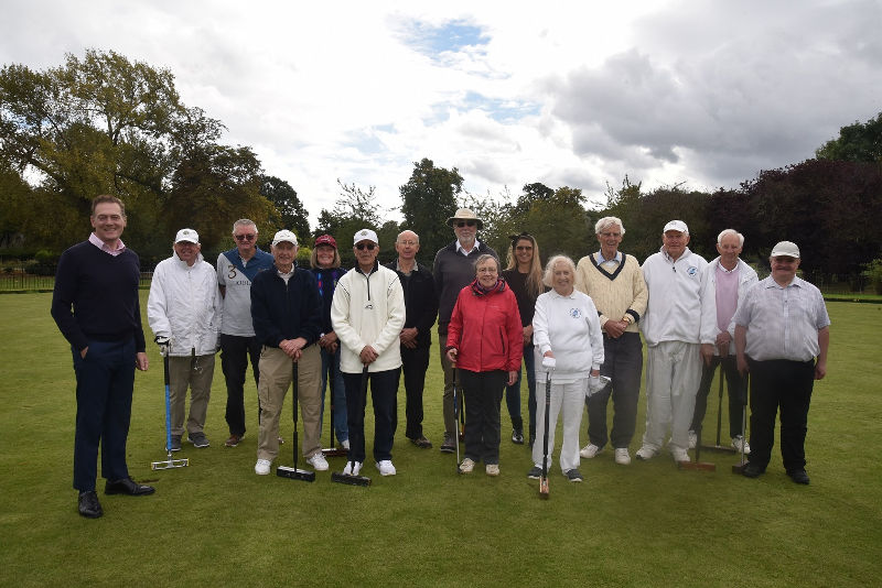 A photo of members of Middlesbrough Croquet Club at Albert Park with Middlesbrough Mayor Andy Preston and Deputy Mayor Cllr Mieka Smiles