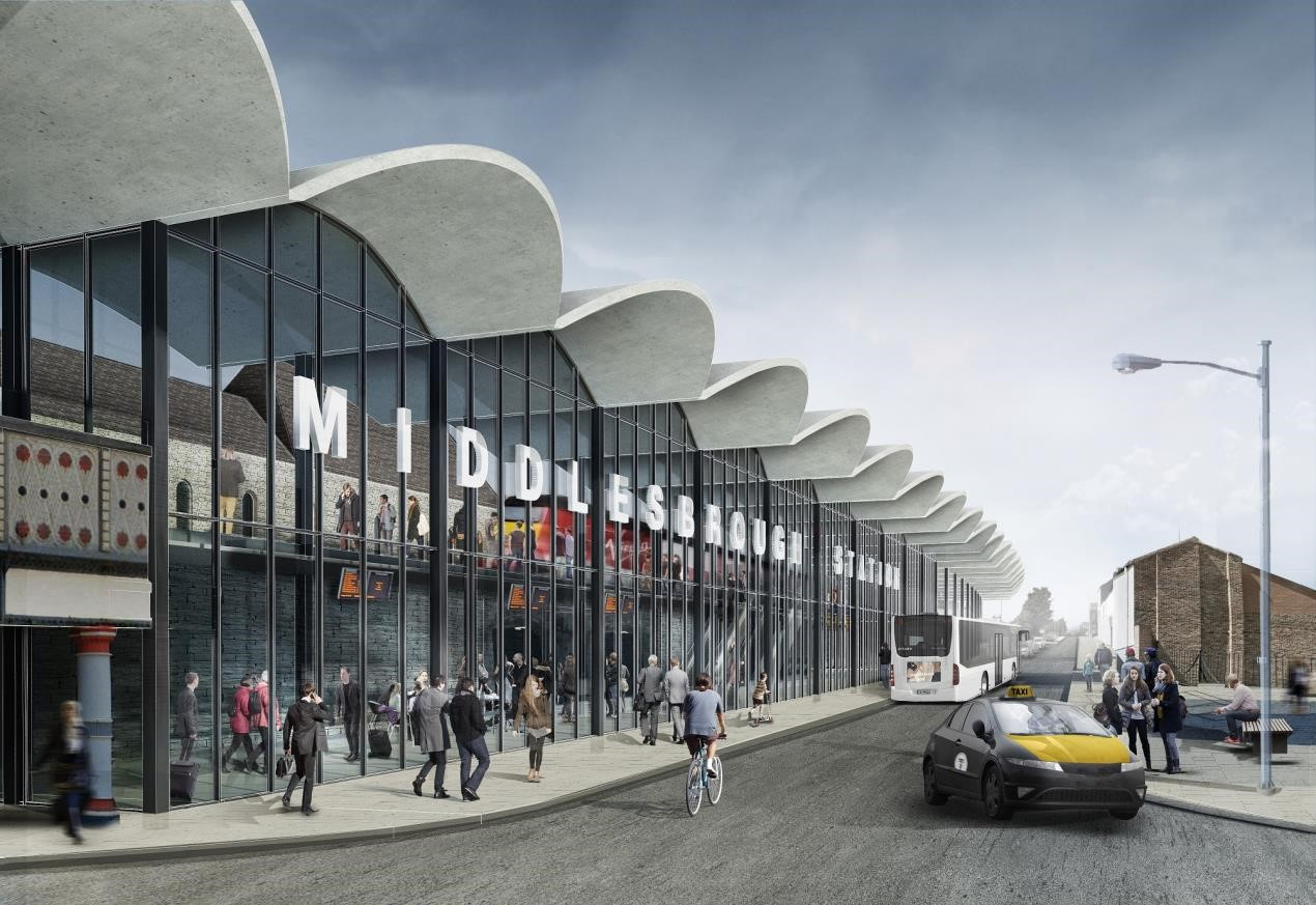 Rail Station Perspective – A CGI impression of what the north face of Middlesbrough Railway Station could look like on Bridge Street West.