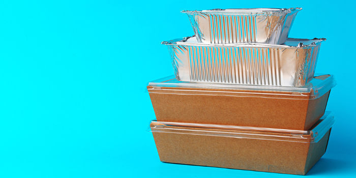 A photo of takeaway cartons linking to the page section about recycling takeaway cartons