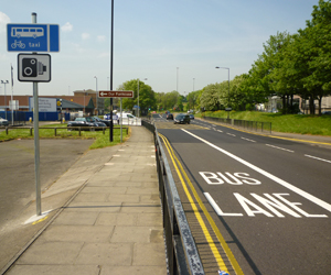 Speed camera signage - in the bus lane