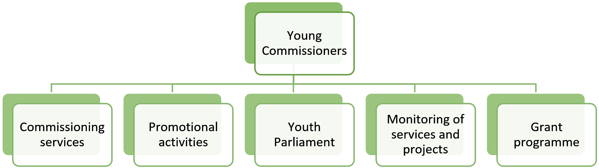 A picture explaining what the young commissioners are, the information is also available below